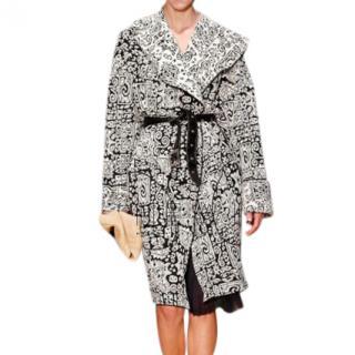 Celine Black & White Knit Jacquard Coat