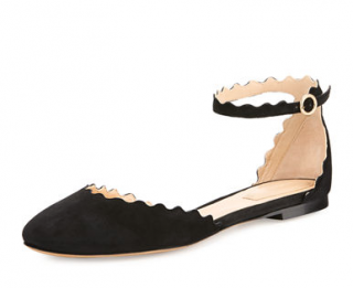 Chloe Lauren Scalloped Suede Ankle-Strap Flats