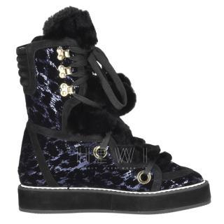 Nicholas Kirkwood Kira metallic blue sequin snow boots