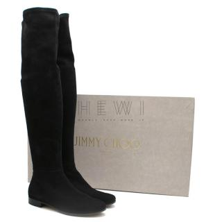 Jimmy Choo Black Myren Flat Over The Knee Boots