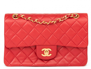 Chanel Vintage Red Leather Double Flap Bag