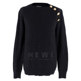 Balmain Black Wool Button Shoulder Sweater