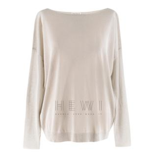 Brunello Cucinelli Cashmere & Silk Metallic Knit Top