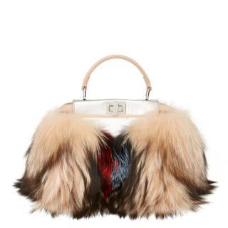Fendi Leather & Fox Fur Mini Peekaboo Top Handle Bag