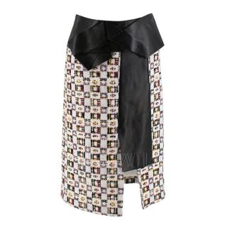 Alexander McQueen Leather-Trimmed Tweed Skirt