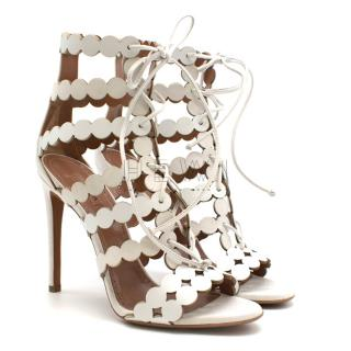 Alaia Laser-cut Leather & Suede Sandals