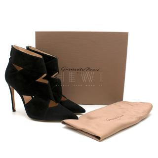 Gianvito Rossi Black Suede Cut-Out Sandals