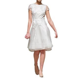 David Fielden Satin Floral Applique Short Wedding Dress