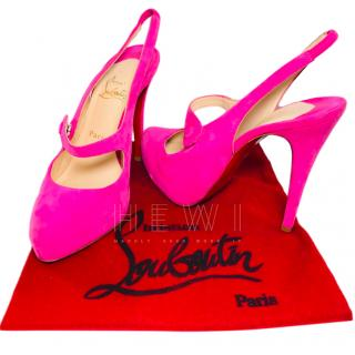 Christian Louboutin Pink Suede Mary-Jane Sandals