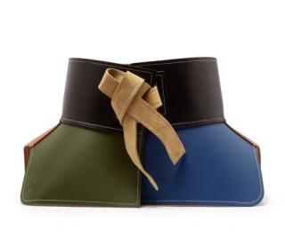 Loewe Obi Suede-Trimmed Color-Block Leather Waist Belt