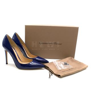 Gianvito Rossi Blue Patent Leather Point Toe Pump