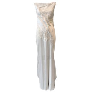 David Fielden Satin Embroidered Sleeveless Bridal Gown