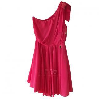 Elisabetta Franchi Pink Silk One-Shoulder Dress