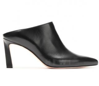 Stuart Weitzman Black Leather Camila 90mm Mules