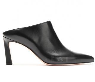 Stuart Weitzman Black Leather Camila 90mm Mules