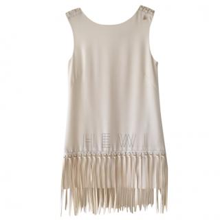 Elisabetta Franchi Faux Leather Fringed Dress