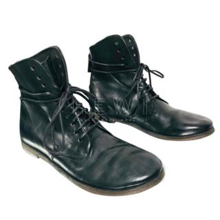 Marsell black calfskin leather lace-up boots