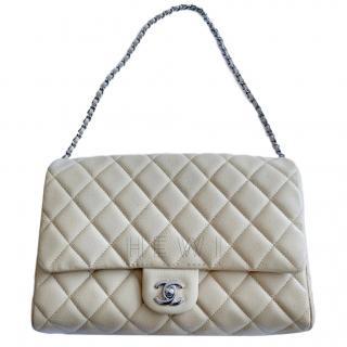 Chanel Beige Caviar Leather Flap Bag