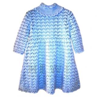 Dolce & Gabbana Blue Crochet Cashmere Dress
