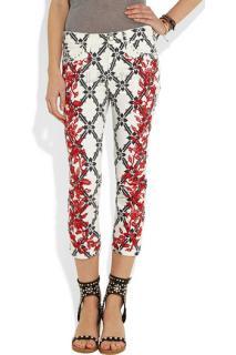 Isabel Marant White Godart Floral Red Embroidered Skinny Jeans