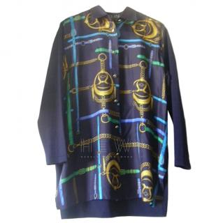 Laurel Blue Equestrian Printed Silk Blouse