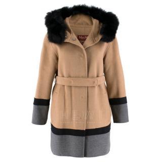 MaxMara Two Tone Belted Wool Coat W/ Rabbit Fur Trim