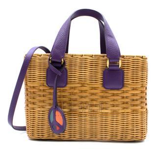 Mark Cross Manray Purple Raffia Tote Bag