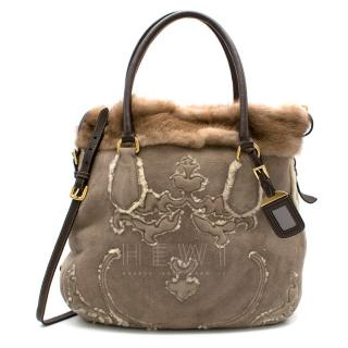 Prada Sheep Shearling & Suede Mink Fur Trim Tote Bag