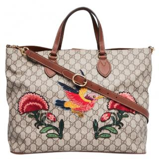 Gucci Floral Embroidered Supreme Canvas Tote