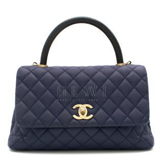 Chanel Navy Caviar Leather Lizard Embossed Top Handle Flap Bag