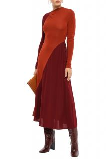 Victoria Beckham Colour-Block Asymmetric Midi Dress