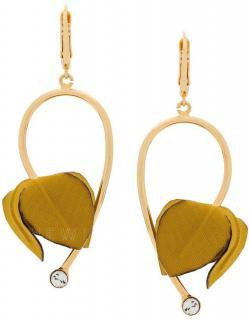Marni Flora Fabric & Strass Yellow Earrings