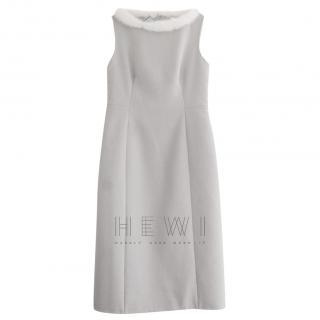 Prada Dove Grey Cashmere Mink Trim Dress