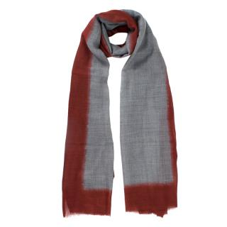 Paule Ka Fringed Stole In Two-Tone Red And Grey