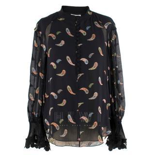 Chloe Black Glitter Patterned silk blend blouse