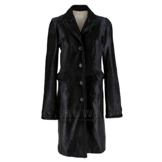 Max Mara Calf Hair Black Longline Coat