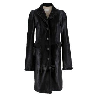 Max Mara Calf Hair Black Longline Coat