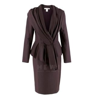 Oscar De La Renta Wool Blend Belted Blazer & Pencil Skirt