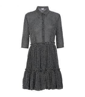 NEW CLAUDIE PIERLOT BLACK WHITE TEXTURED SHIRT DRESS 38
