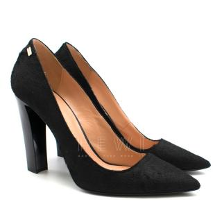 Roland Mouret Black Pointed Calf Hair Pumps