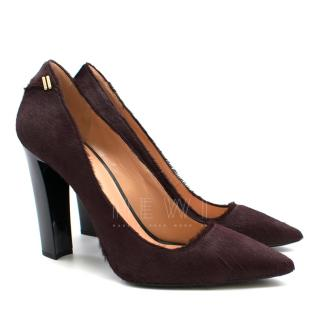 Roland Mouret Burgundy Pointed Calf Hair Pumps