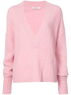 Tibi Pink Alpaca Blends V-Neck Knit Jumper