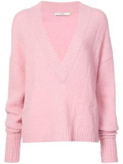 Tibi Pink Alpaca Blends V-Neck Knit Jumper