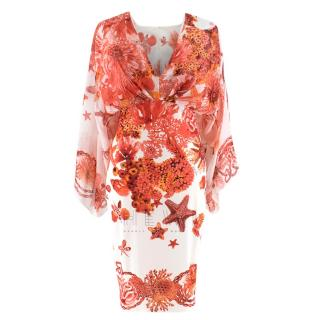 Roberto Cavalli Red & White Silk Printed Dress