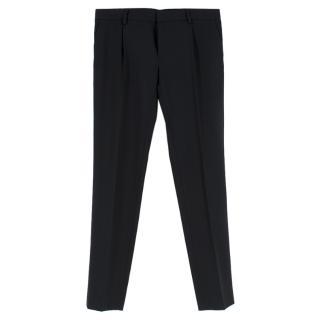 Saint Laurent Black Wool Mid-Rise Trousers