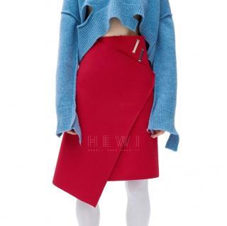 Celine Asymmetric Wrap Skirt in Wool Felt