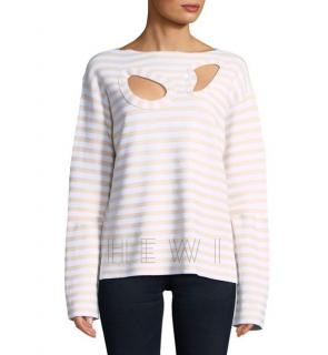 Celine Striped Long-sleeve Cut Out Top