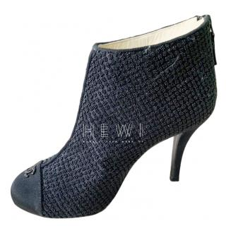 Chanel Black Beaded Cap-Toe Ankle Boots