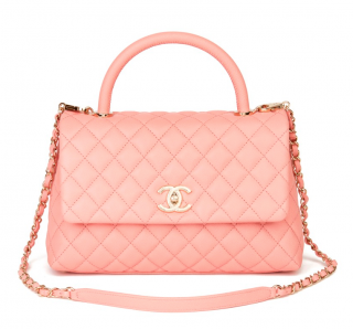 Chanel Baby Pink Caviar Leather Coco Top Handle Bag