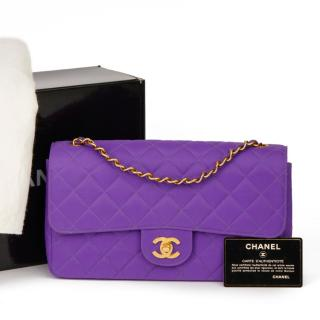 Chanel Vintage Quilted Canvas Purple Flap Bag